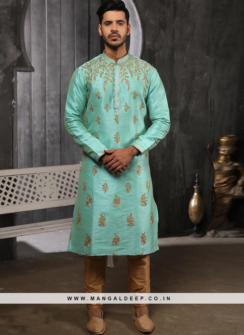 Designer Embroidered Fancy Sky Blue Color Banarasi Art Silk Kurta Pajama