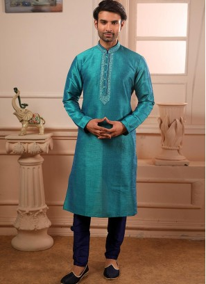 Designer Embroidered Fancy Teal Color Banarasi Art Silk Kurta Pajama