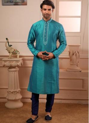 Designer Embroidered Fancy Teal Color Banarasi Art Silk Kurta Pajama