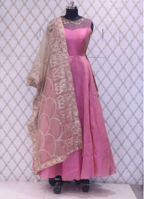 Designer Embroidered Lovely Peach Color Party Wear Suit