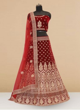 Designer Embroidered Maroon Color Lehenga Choli