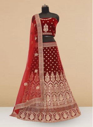 Designer Embroidered Maroon Color Lehenga Choli