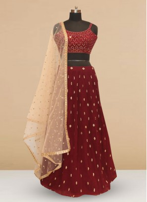 Designer Embroidered Maroon Color Silk Lehenga Choli