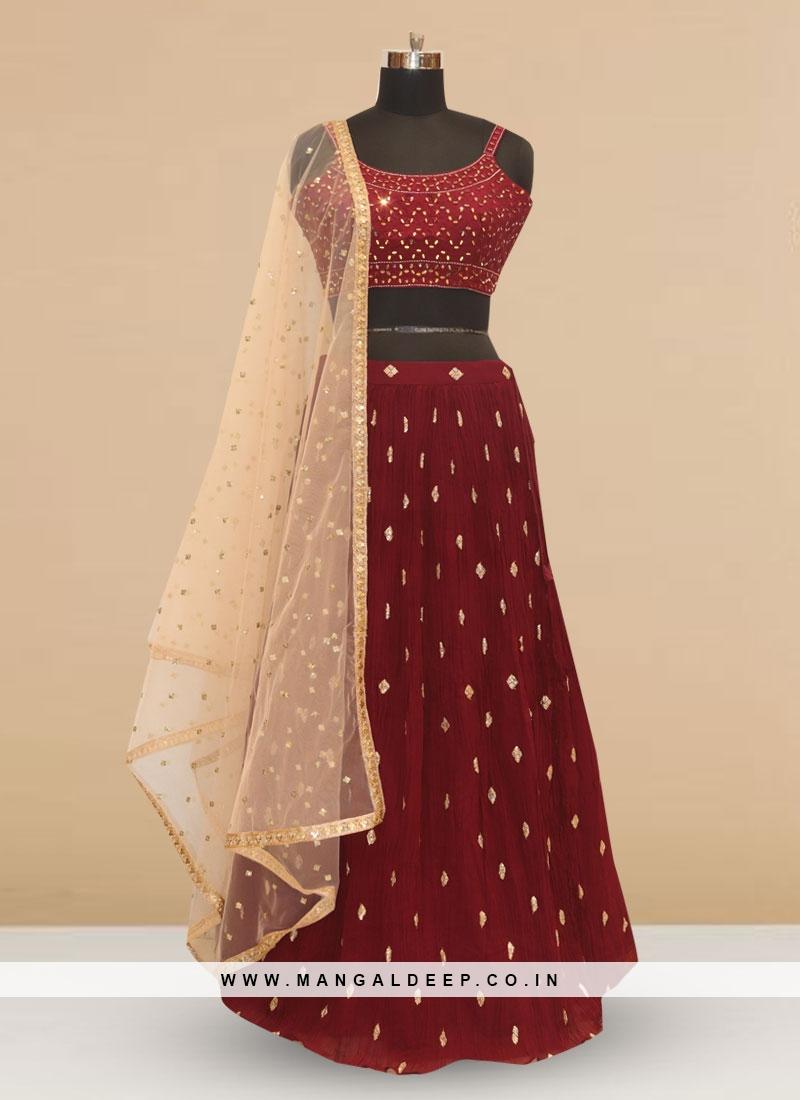 Designer Embroidered Maroon Color Silk Lehenga Choli
