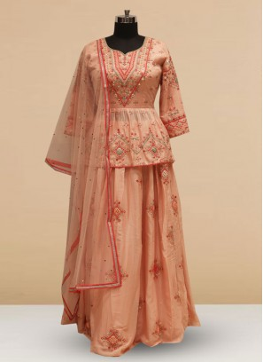 Designer Embroidered Pink Color Silk Lehenga Choli