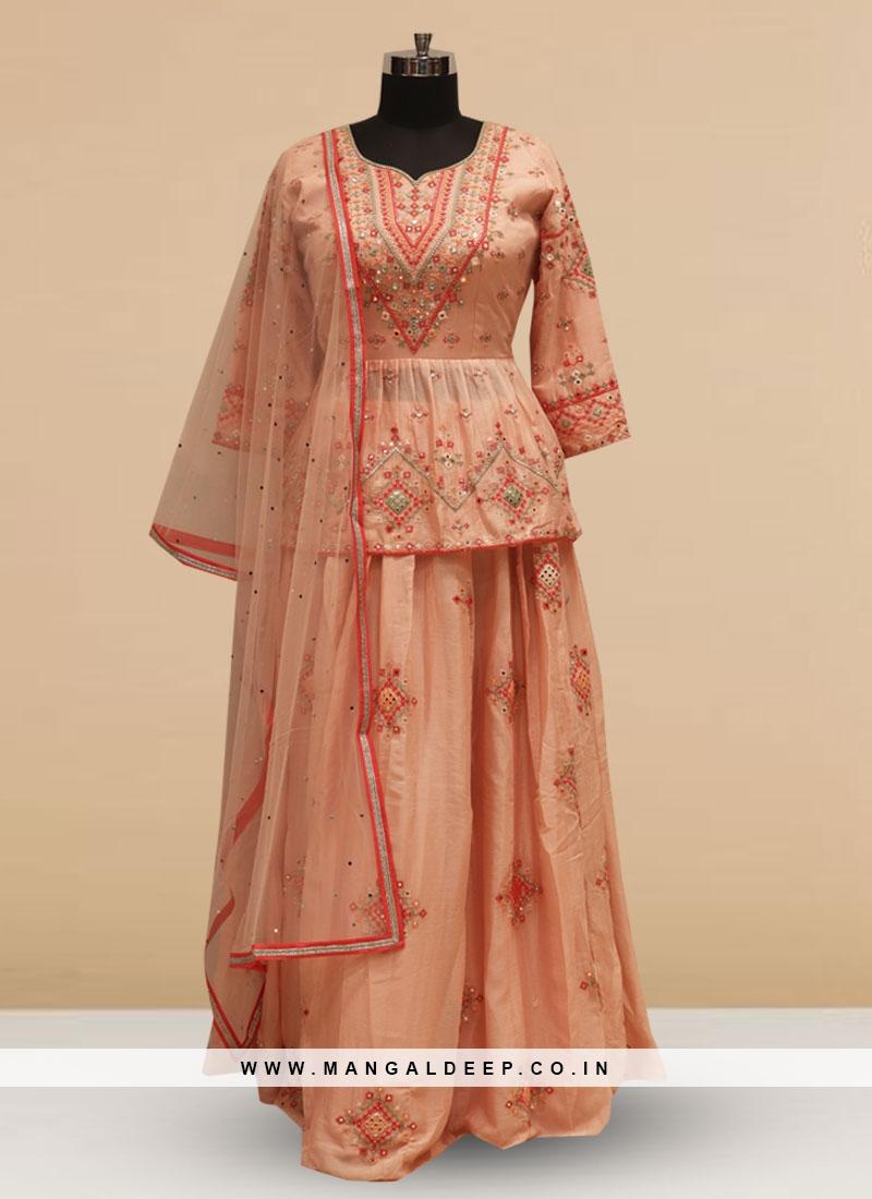 Designer Embroidered Pink Color Silk Lehenga Choli