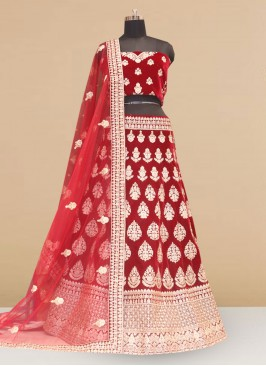 Designer Embroidered Red Color Lehenga Choli