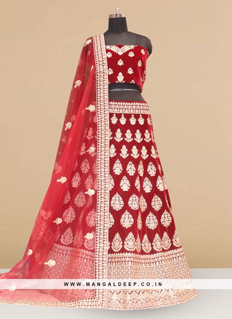 Designer Embroidered Red Color Lehenga Choli