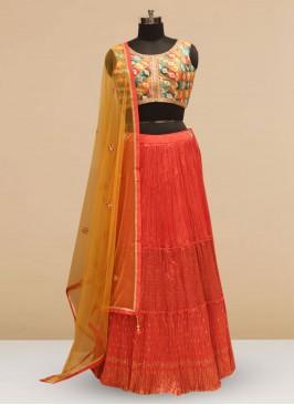 Designer Embroidered Red Color Silk Lehenga Choli