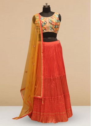 Designer Embroidered Red Color Silk Lehenga Choli