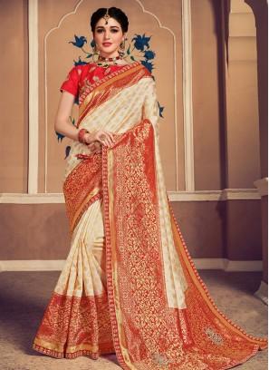 Designer Function Wear Banarasi Silk Saree In Cream Color