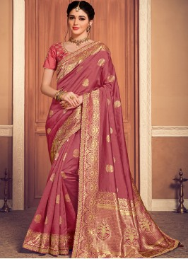 Designer Function Wear Banarasi Silk Saree In Pink Color