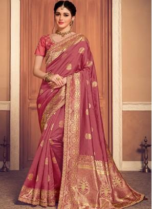 Designer Function Wear Banarasi Silk Saree In Pink Color