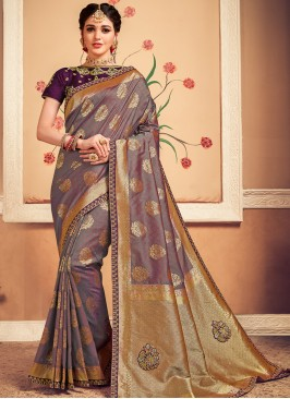 Designer Function Wear Banarasi Silk Saree In Purple Color
