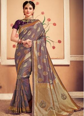 Designer Function Wear Banarasi Silk Saree In Purple Color