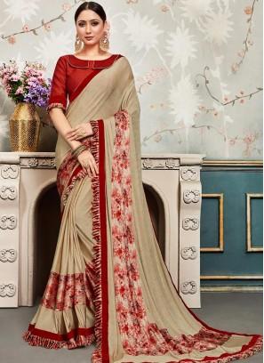 Designer Function Wear Chiffon Saree In Beige Color