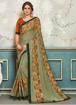 Designer Function Wear Chiffon Saree In Green Color