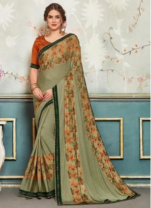 Designer Function Wear Chiffon Saree In Green Color