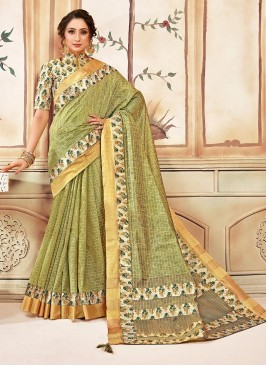 Designer Function Wear Cotton Saree In Green Color