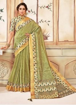 Designer Function Wear Cotton Saree In Green Color