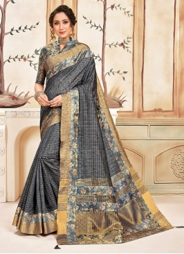 Designer Function Wear Cotton Saree In Grey Color