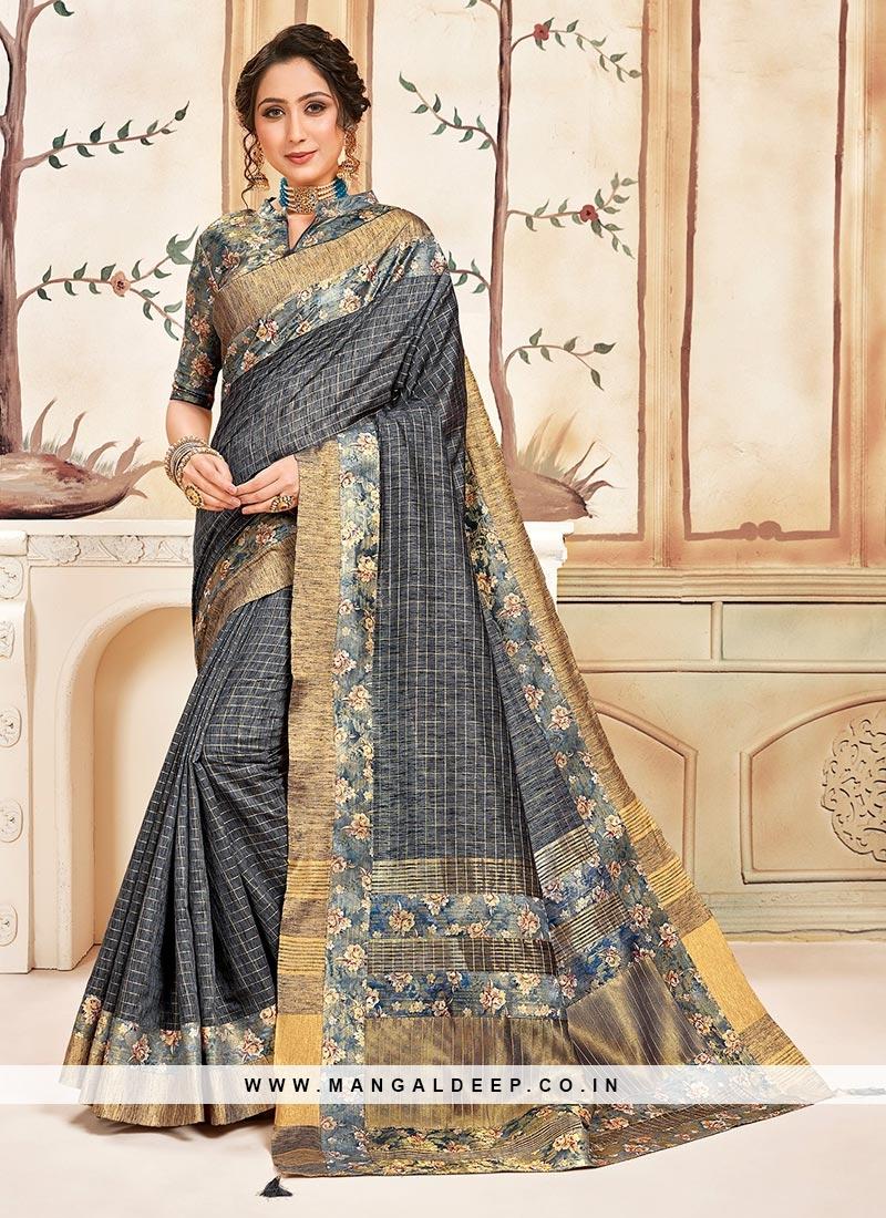 Designer Function Wear Cotton Saree In Grey Color