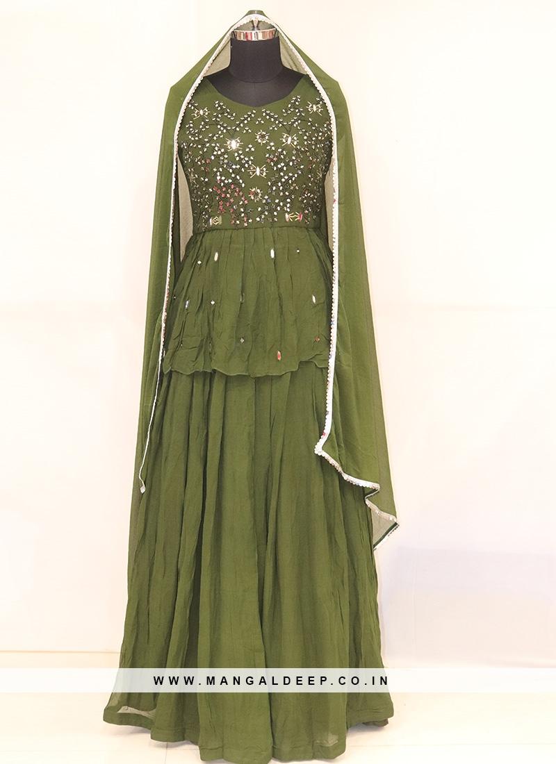 Designer Function Wear Green Color Lehenga Choli