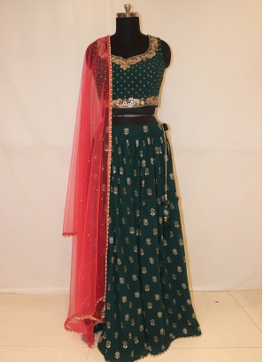 Designer Function Wear Green Color Lehenga Choli