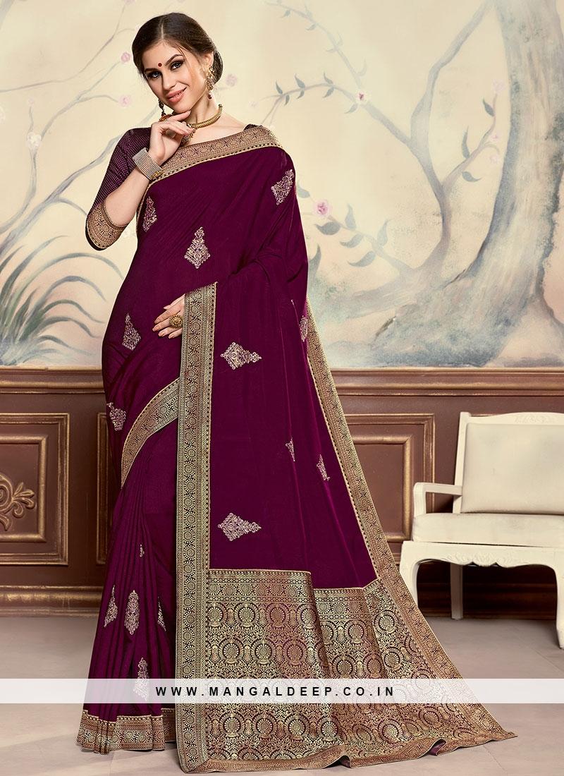 Designer Function Wear Poly Silk Saree In Burgundy Color