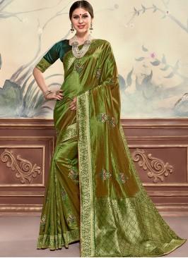 Designer Function Wear Poly Silk Saree In Green Color