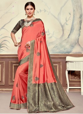 Designer Function Wear Poly Silk Saree In Pink Color