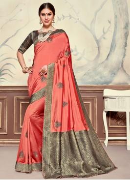 Designer Function Wear Poly Silk Saree In Pink Color