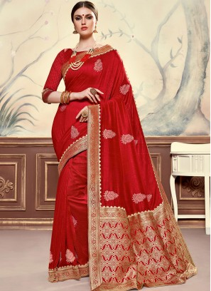 Designer Function Wear Poly Silk Saree In Red Color
