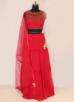 Designer Function Wear Red Color Lehenga Choli