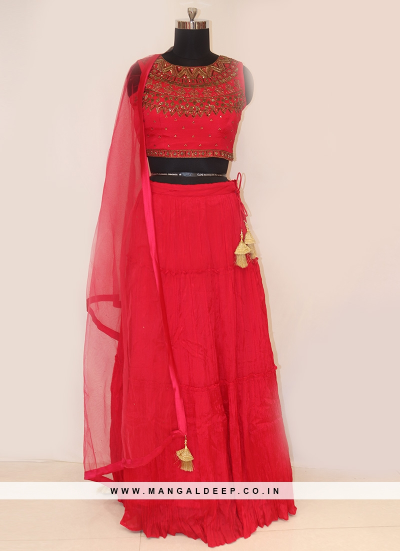 Designer Function Wear Red Color Lehenga Choli