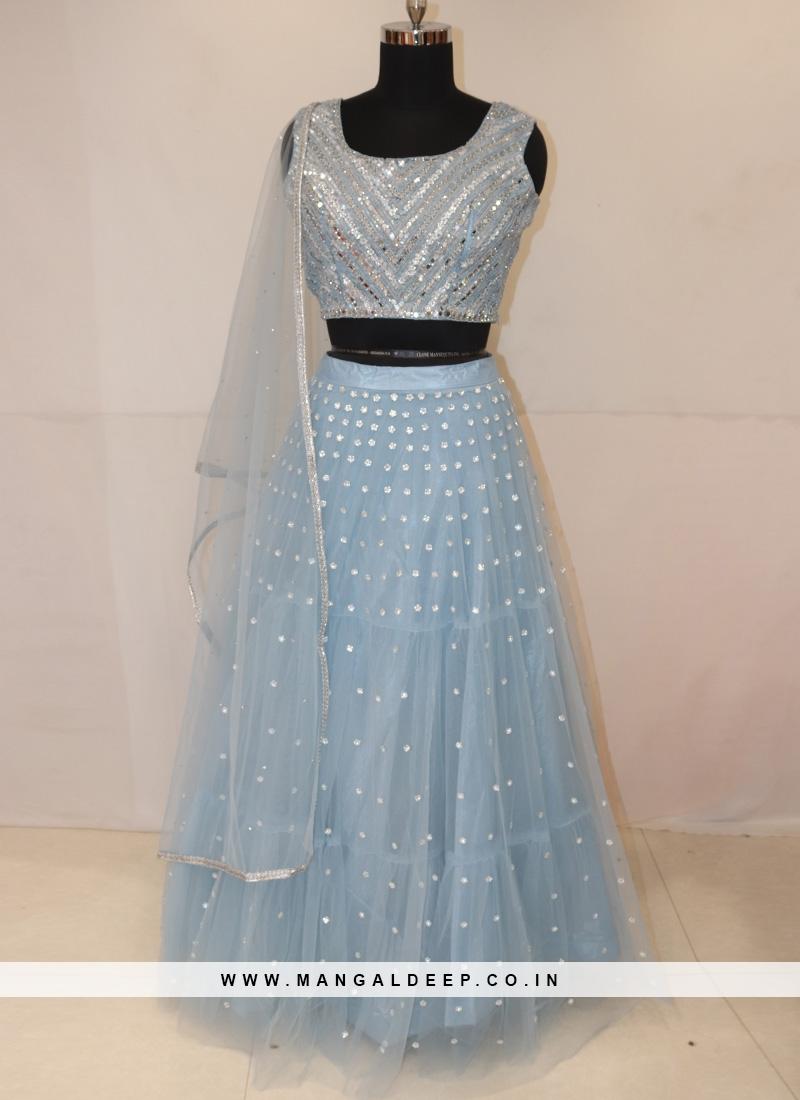 Designer Function Wear Sky Blue Color Lehenga Choli