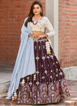 Designer Function Wear Wine Color Lehenga Choli