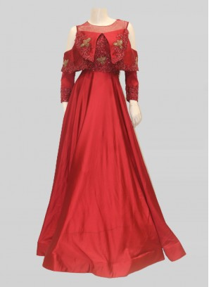 Designer Maroon Color Satin Sequins Reception Gown