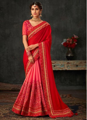 Designer Party Wear Embroidered Fancy Red And Pink Color Saree