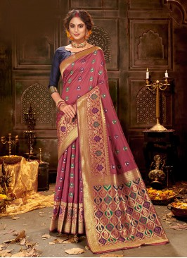 Designer Party Wear Fancy Multi Color Silk Saree