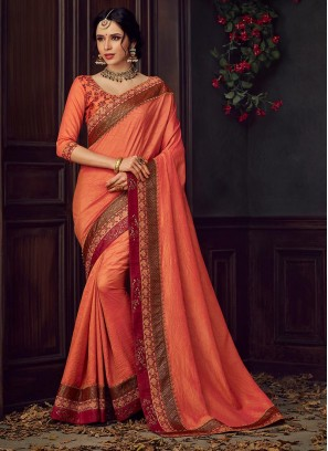 Designer Party Wear Fancy Orange Color Saree