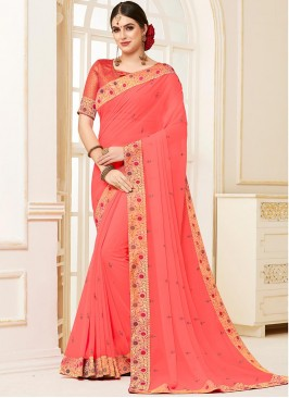 Designer Party Wear Fancy Pink Color Saree