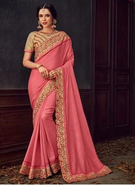 Designer Party Wear Fancy Pink Color Saree