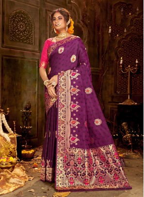Designer Party Wear Fancy Purple Color Silk Saree