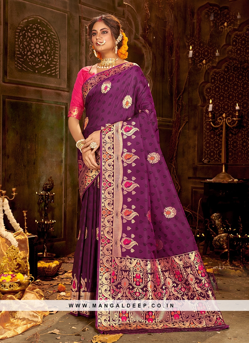 Designer Party Wear Fancy Purple Color Silk Saree
