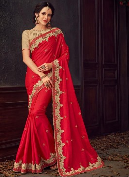 Designer Party Wear Fancy Red Color Saree
