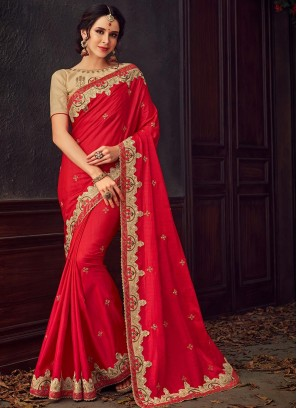 Designer Party Wear Fancy Red Color Saree
