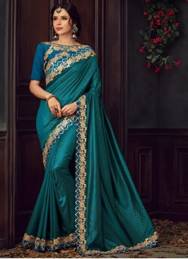Designer Party Wear Fancy Teal Color Saree