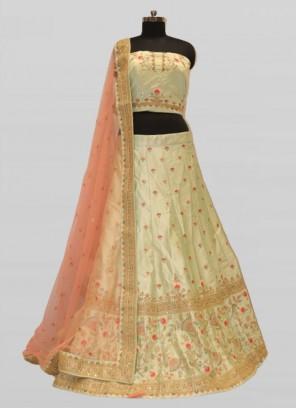 Designer Pista Green Color Silk Lehenga Choli