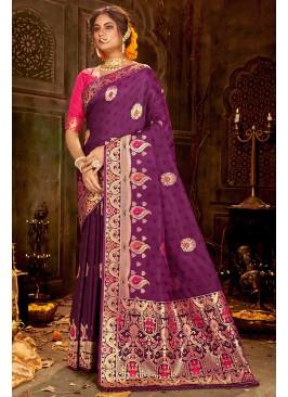 Designer Purple Color Silk Saree